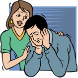 women comforting depressed man